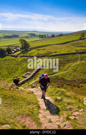 Climbing Steel Rigg on the route of Hadrian's Wall in Northumberland. - Stock Photo
