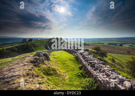 Hadrian's wall at Walltown Crags in Northumberland. - Stock Photo