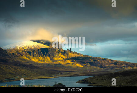 The Old Man of Storr on the Trotternish peninsula on the Isle of Skye. - Stock Photo