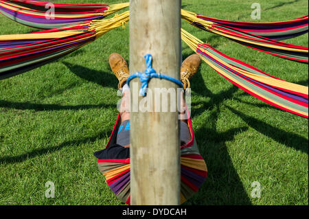A man sleeping in a hammock at the Brownstock Festival in Essex. - Stock Photo
