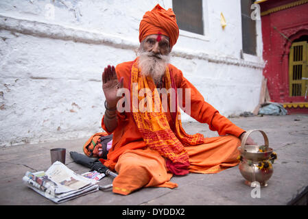 Portrait of a sadhu or holy man. - Stock Photo