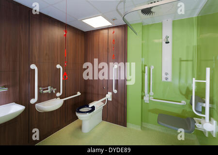 Hospital bathroom with disabled assistance bars. - Stock Photo