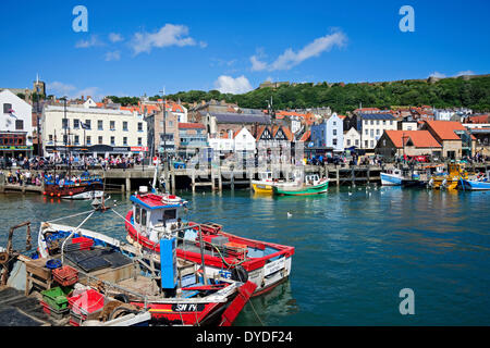 Fishing boats in the harbour at Scarborough. - Stock Photo