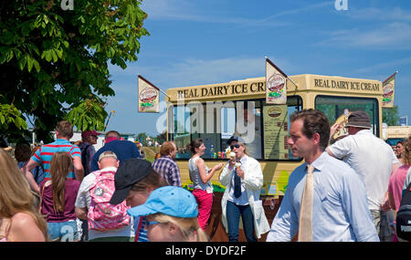 People queueing for ice cream on a hot summer day at the Great Yorkshire Show. - Stock Photo