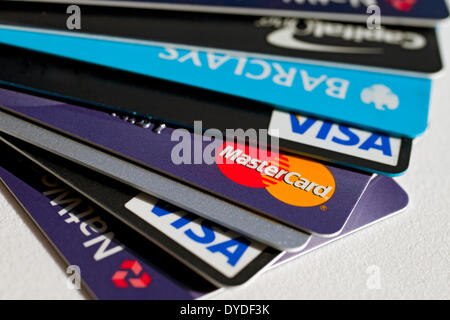 Close up of credit cards. - Stock Photo