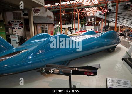 Thrust SSC world land speed vehicle in the Beaulieu Motor Museum. - Stock Photo