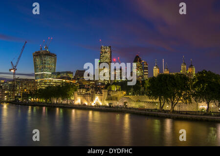 A view of London skyline from Tower Bridge. - Stock Photo