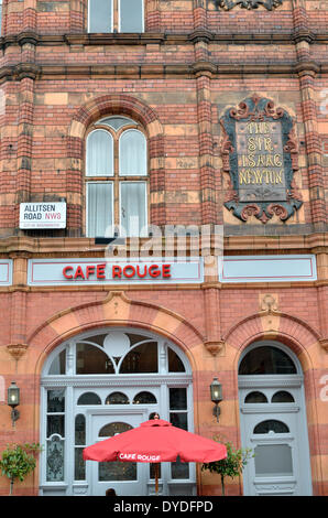 Cafe Rouge was formerly the Sir Isaac Newton pub in St Johns Wood High Street. - Stock Photo