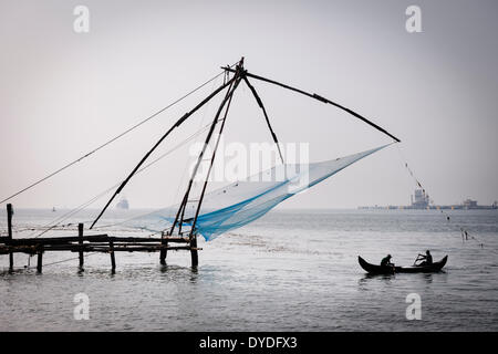Chinese fishing nets in Fort Kochi. - Stock Photo