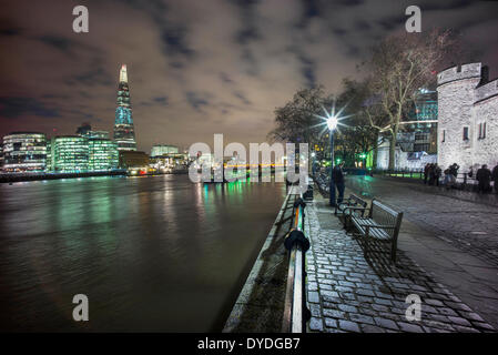 The Tower of London with The Shard and The River Thames at dusk. - Stock Photo