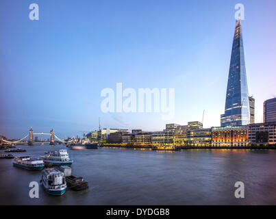 The Shard with The River Thames and Tower Bridge. - Stock Photo