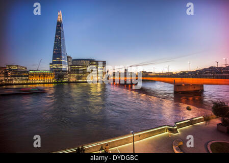The Shard with Southwark Cathedral and London Bridge. - Stock Photo