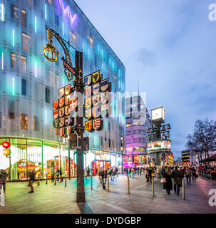 Swiss Corner with The Glockenspiel and the W hotel on the corner of Wardour Street and Leicester Square in London. - Stock Photo
