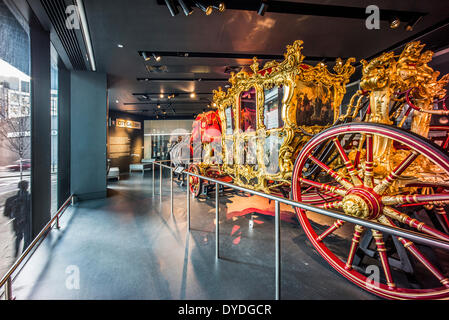 The Lord Mayor of London's State Coach in the Museum of London. - Stock Photo