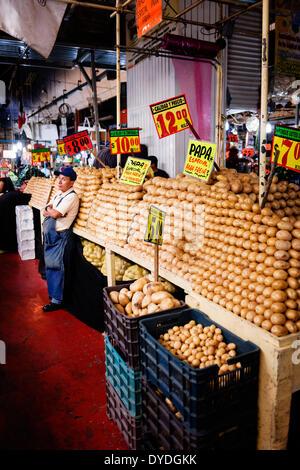 A vendor at the Mercado de la Merced in Mexico City. - Stock Photo