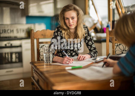 A 16 year old girl doing math homework on the kitchen table. - Stock Photo
