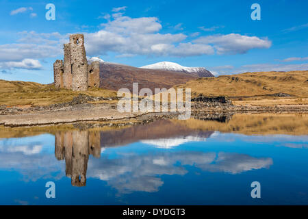 Ardvreck Castle which is a ruined 16th century castle on the shores of Loch Assynt. - Stock Photo
