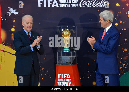 Washington DC, USA . 14th Apr, 2014. US Vice President Joe Biden and Secretary of State John Kerry unveil the FIFA - Stock Photo