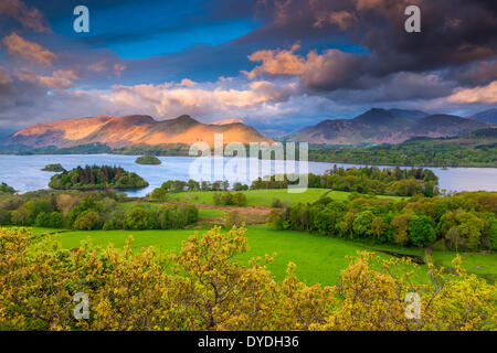 A view from Castlehead Wood Viewpoint near Castlerigg village across Derwentwater towards Derwent Fells in the Lake - Stock Photo