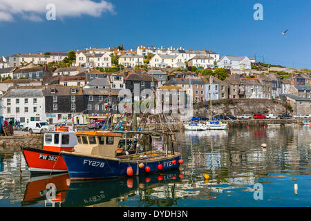 Sailing boats in Mevagissey harbour. - Stock Photo