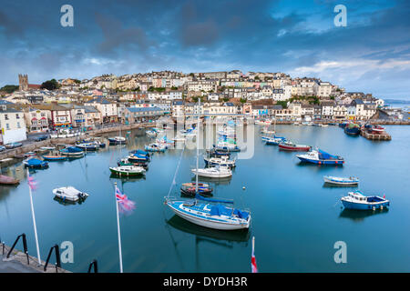 Boats moored in Brixham harbour. - Stock Photo
