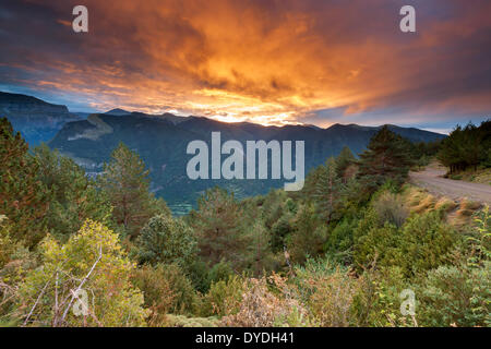 Sunrise over Valle de Broto in the Pyrenees. - Stock Photo