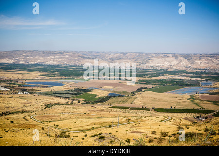 View over the Jordan Valley seen from the Belvoir crusader fortress, lower Galilee region, Israel. - Stock Photo