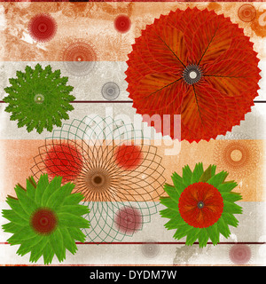 Decorative card or abstract background with floral leaf patterns - Stock Photo