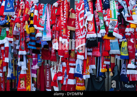 Liverpool, UK. 15th April 2014. Scarves from supporters of various football teams outside the gates of Anfield. - Stock Photo