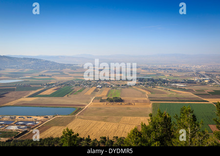 A view over Jezreel Valley from Mount Precipice, Nazareth, Galilee region, Israel. - Stock Photo