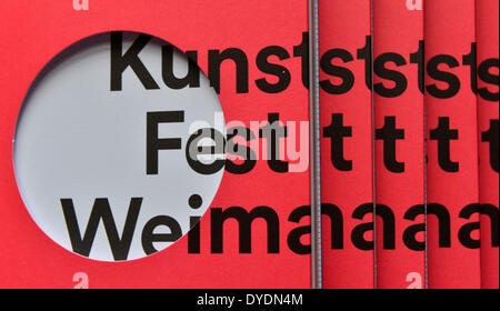 Weimar, Germany. 15th Apr, 2014. Programs for art festival 'Kunstfest Weimar 2014' lie next to each other in Weimar, - Stock Photo