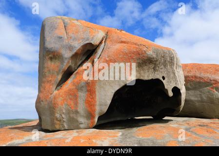 Remarkable Rocks on Kangaroo Island, South Australia, are impressive sculptures made of black mica, bluish quartz, - Stock Photo