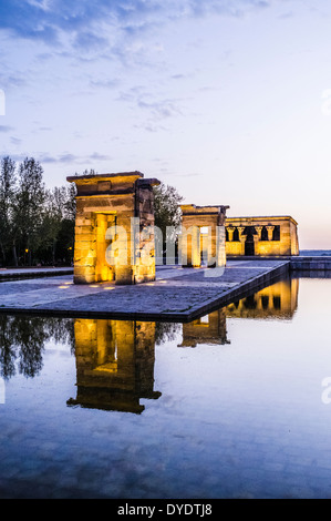 Temple of Debod at dusk. Parque del Oeste, Madrid Spain - Stock Photo