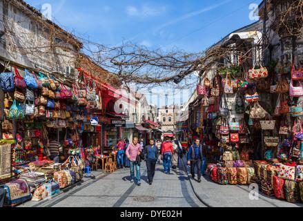 Shops on Nuruosmaniye Caddesi outside the Grand Bazaar, Istanbul,Turkey - Stock Photo