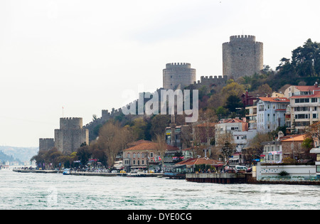 The Fortress of Rumeli Hisari from the deck of a Bosphorus cruise boat, Istanbul, Turkey - Stock Photo