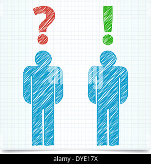 Man silhouette with question mark on light background - Stock Photo