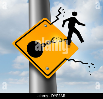 Escaping to freedom business concept as a businessman symbol on a traffic sign breaking free from the restrains - Stock Photo