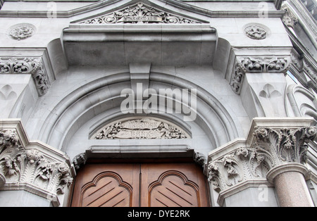Hibernian Bank architectural detail which is over the door of the former National Irish Bank in Dublin - Stock Photo