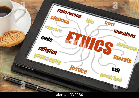 ethics word cloud or mind map on a digital tablet with a cup of coffee - Stock Photo