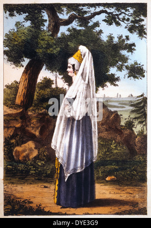 Merchant's Wife, or Kuptschiha, from Pinkerton's Russia, Hand-Colored Engraving, 1833 - Stock Photo