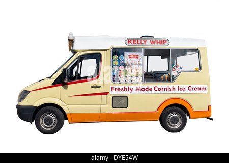A cut out of a traditional British ice cream van based on a Mercedes Sprinter Van - Stock Photo