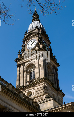 The clock tower of the Town Hall, Victoria Square, Bolton, Greater Manchester, England, UK - Stock Photo
