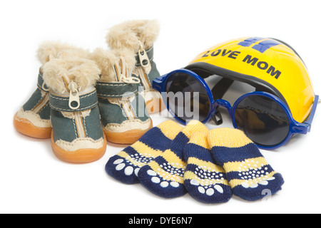 Pet clothing and accessory ,Pet shoes, socks and helmet - Stock Photo
