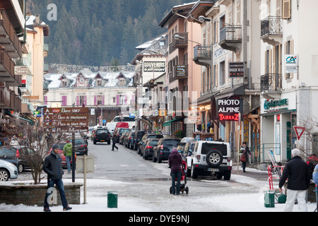 Commercial retail outlets along the Avenue Michel Croz, in the village of Chamonix Mont-Blanc - Stock Photo