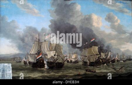 The Battle of Livorno by Reinier Nooms, called Zeeman (c. 1623/4-1664) oil on canvas, 1653-1664. A painted sheet - Stock Photo