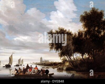 River Landscape with Ferry by Salomon van Ruysdael (c. 1600-1670) oil on panel, 1649 With three horses, four dogs, - Stock Photo