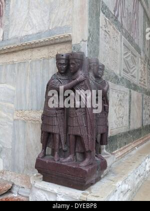 The Portrait of the Four Tetrarchs. A Porphyry sculpture group of four Roman emperors dating from around 300 AD. - Stock Photo