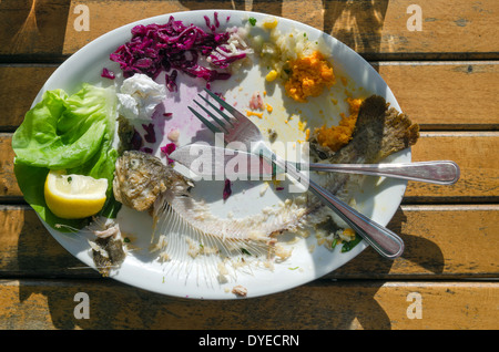 Leftovers of trout, beet, corn on a plate on a wooden table - Stock Photo