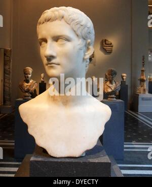Marble Portrait Bust of Emperor Gaius (Caligula) 57 A.D. 3rd Emperor of Rome - Stock Photo