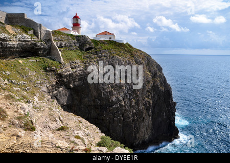 Lighthouse in Cape Saint Vincent, Algarve, Portugal. - Stock Photo